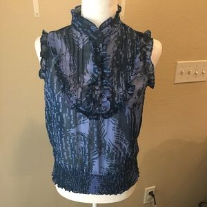 Poetry Clothing Ruffled Blue Top